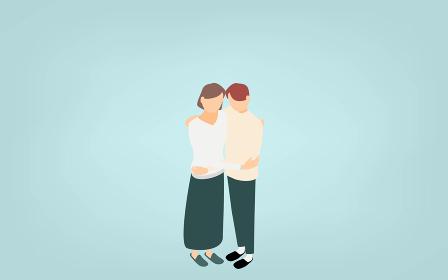 アイソメトリック、スキンシップで抱き合う男