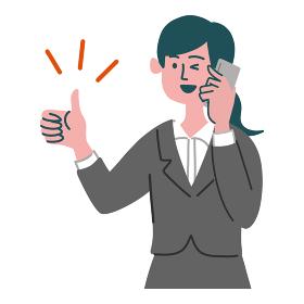 スーツ 女性 士業 携帯電話 スマホ いいね