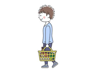 買い物をする男性のイラスト