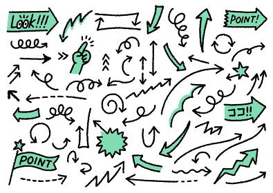 手描きの矢印・注意アイコンのイラストセット