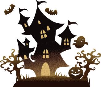ハロウィンのおばけ屋敷 水彩イラスト素材