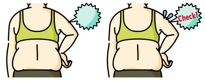 肥満の女性の二の腕と背中 チェック