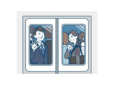 満員電車に乗るスーツを着た男女 乗客 社会人 会社員 通勤ラッシュ イラスト素材
