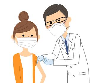 ワクチン接種を受ける若い女性