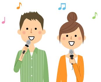 歌う若いカップル
