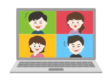 オンライン通話・笑顔で会話する友達イラスト