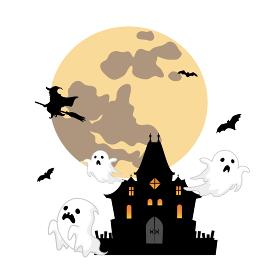 ハロウィンのイラスト お化け屋敷から出てくる幽霊達と魔女