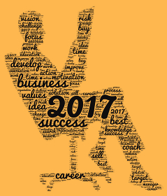 Business 2017 word cloud concept in shape business man
