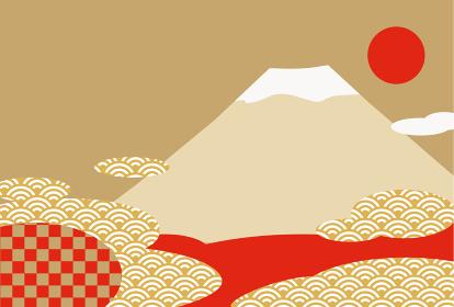 富士山と日の出のおめでたい新春の背景イラスト