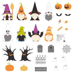 ハロウィンの仮装をした北欧の小人のキャラクターとデザイン素材セット