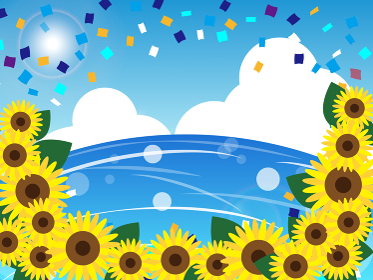 夏の花 ひまわりのサマーフレーム背景イラスト