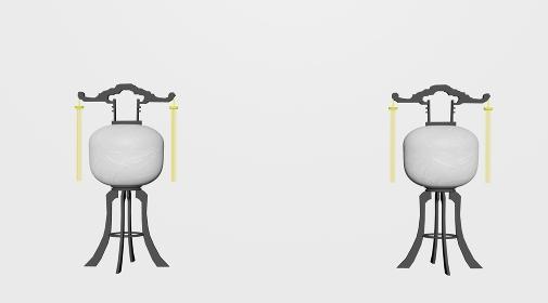 お盆の提灯「正面、3Dレンダリング