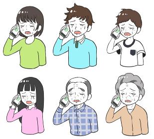悲しくて泣きながら電話する人々