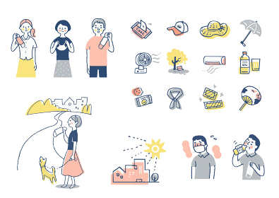 様々な熱中症対策のアイテムと人物 セット