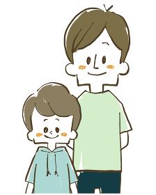 笑顔の父親と息子