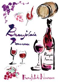 ボジョレーヌーボーやワイン関連のワインボトルやグラスワインやぶどうや文字などのセット