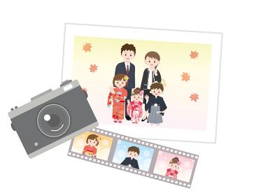 七五三 家族の写真 記念撮影のイラスト