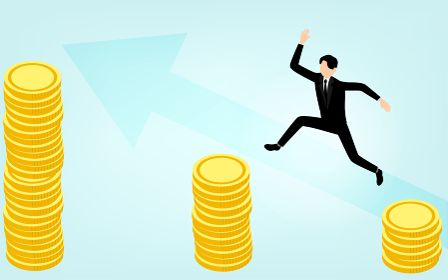 金貨から金貨にジャンプするビジネスマン、ビジネスシーンのイメージ、アイソメトリック