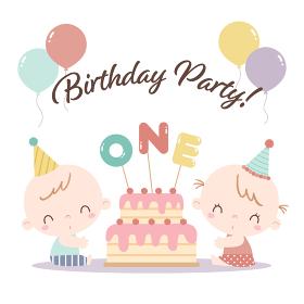 双子の男の子と女の子の赤ちゃんが初めての誕生日を祝っているイラスト