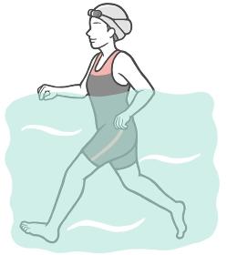 ジムのプールでウォーキングをする中年女性