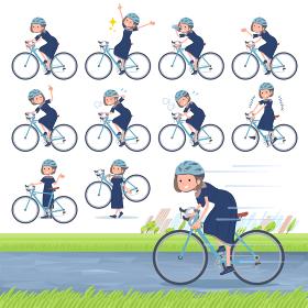 flat type Navy blue dress women_road bike
