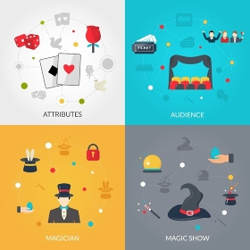 Magician flat set. Magician design concept set with magis show attributes flat icons isolated vector illustration