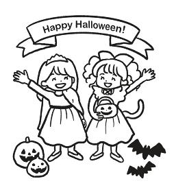 ハロウィンの仮装をした女の子2人の線画イラスト