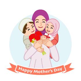 二人の子供を抱きしめる母親 ムスリム - 母の日コンセプトイラスト