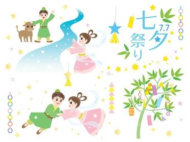 織姫と彦星と七夕祭りのイラストセット