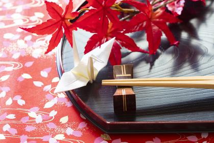 箸と折り鶴