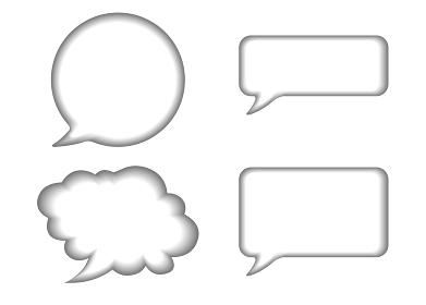 立体レリーフ状の漫画の吹き出し(グレー)|バルーン ベクターデータ Speech balloon