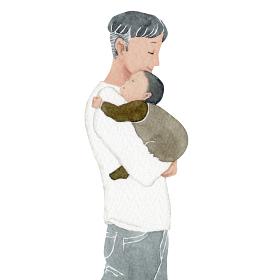 赤ちゃん 子ども お父さん 父親 家族 人物 水彩 イラスト