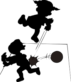 ドッジボールをしている人のシルエット