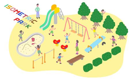 アイソメトリックに描かれた公園のベクターイラスト