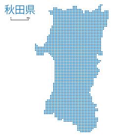 秋田県の詳細地図東北地方|都道府県別ドット表現の地図のイラスト ベクターデータ