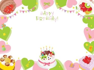 ハートやケーキのお誕生日のフレームデザイン