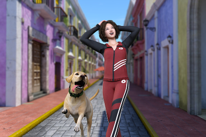 ジャージで外国風の街をラブラドールレトリバーと一緒に散歩するパーマヘアの女の子