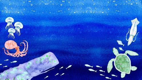 海 生き物 背景 フレーム 水彩 イラスト 横長