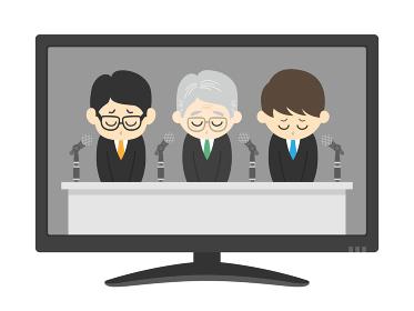 テレビで謝罪会見をする企業のイラスト