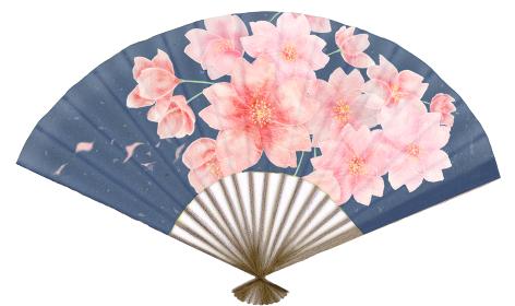 満開の桜が描かれた濃紺の扇子 日本の和雑貨