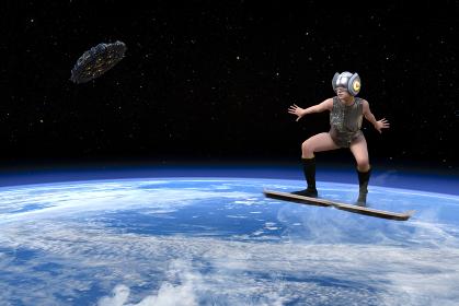 宇宙を飛んで移動する女性ライダー
