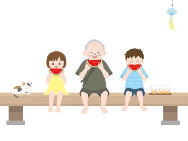 かわいい孫達と一緒にスイカを食べるイラスト