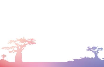 アフリカのサバンナ、バオバブの木の背景素材