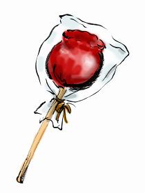 手描きイラスト素材 りんご飴 リンゴ飴 りんごあめ 夜店 祭り