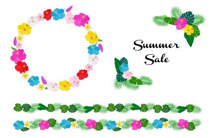 南国の花と植物 装飾フレームセット