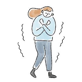 女性 寒い 凍える 冷え性 冬 水彩 手描き