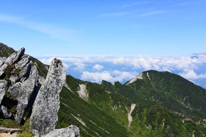 木曽駒ケ岳周辺の稜線と雲海