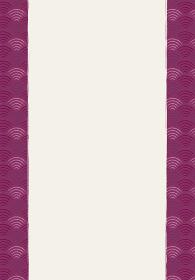 和風和柄のイラスト背景|日本の伝統模様 青海波(せいがいは)文様のフレーム 縦位置 紫系
