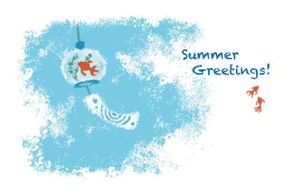 パステル画風金魚の風鈴と夏空の涼しげな暑中見舞いイラスト