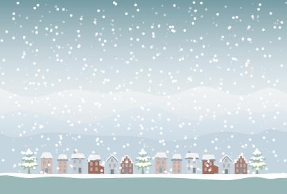 雪が降っている冬の街並みのイラスト